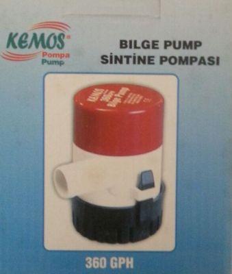 Bilge Pump 360 GPH 24 Volt Sintine Pompası