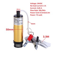KEMOS - Delice 12 Volt Alüminyum Dalgıç Tipi Sıvı Aktarma Pompası(Filtreli)