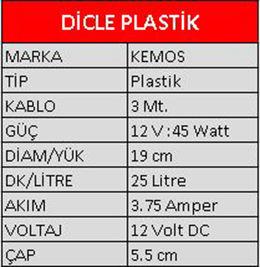 Dicle Plastik Dalgıç Mazot Aktarma Pompası 12 Volt Pump