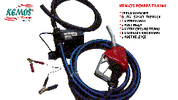 KEMOS - Volga Power Water ve Sıvı Transfer Dijital Sayaçlı Tabanca 24 Volt set