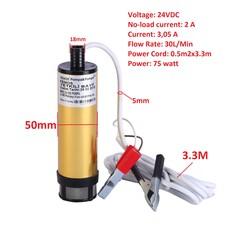Meriç 24 Volt Alüminyum Dalgıç Tipi Sıvı Aktarma Seti(Pompa + Hortum) - Thumbnail
