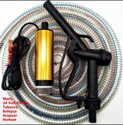 KEMOS - Meriç 24 Volt Alüminyum Dalgıç Tipi Sıvı Aktarma Seti(Pompa + Hortum + Plastik Sıvı Transfer Tabancası)